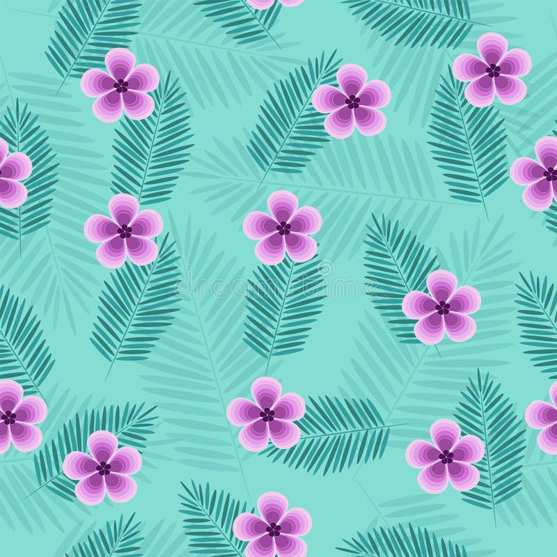 Beautiful tropical vector seamless pattern with leaves vector illustration