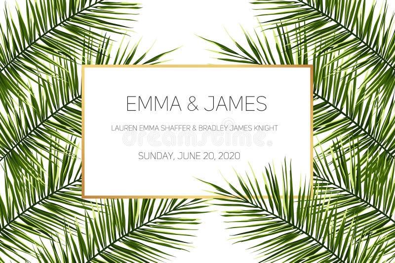 Beautiful tropical wedding invitation. Trendy summer tropical leaves design. royalty free illustration