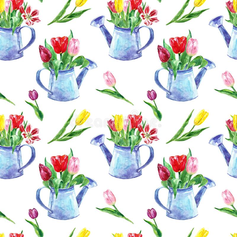 Beautiful tulips bouquet seamless pattern on white background. Colorful flowers in a rustic watering can. Spring floral print. stock illustration