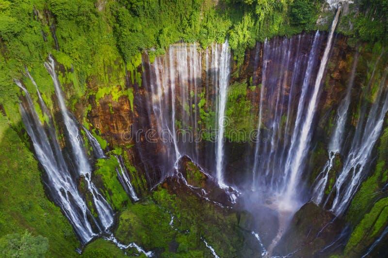 Beautiful Tumpak Sewu waterfall in rainforest royalty free stock photo