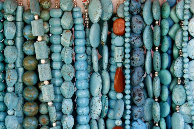 Beautiful turquoise gemstone necklaces royalty free stock image