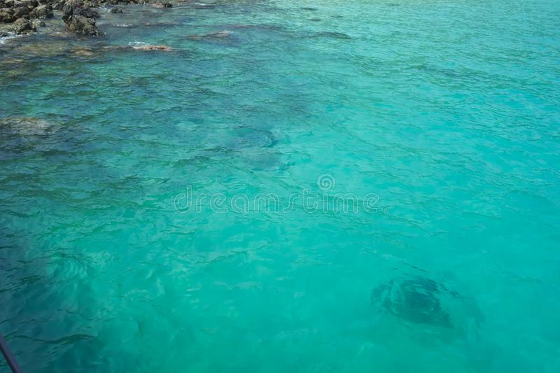 Beautiful Turquoise green sea water. Idyllic seascape background. stock photography