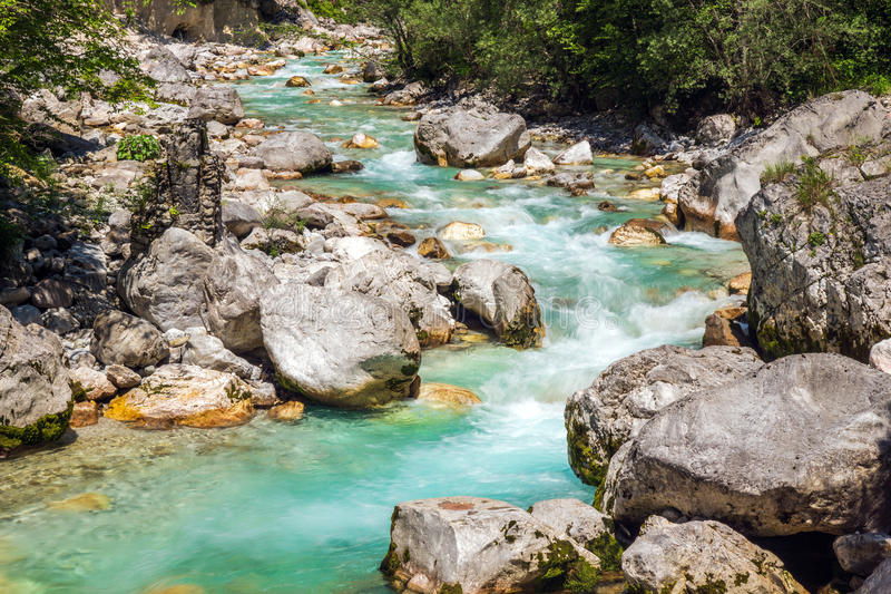 Beautiful turquoise river. In the Triglav National Park in Slovenia royalty free stock photo
