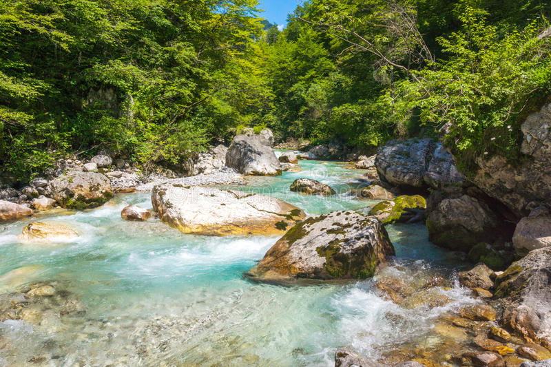 Beautiful turquoise river. In the Triglav National Park in Slovenia stock photo