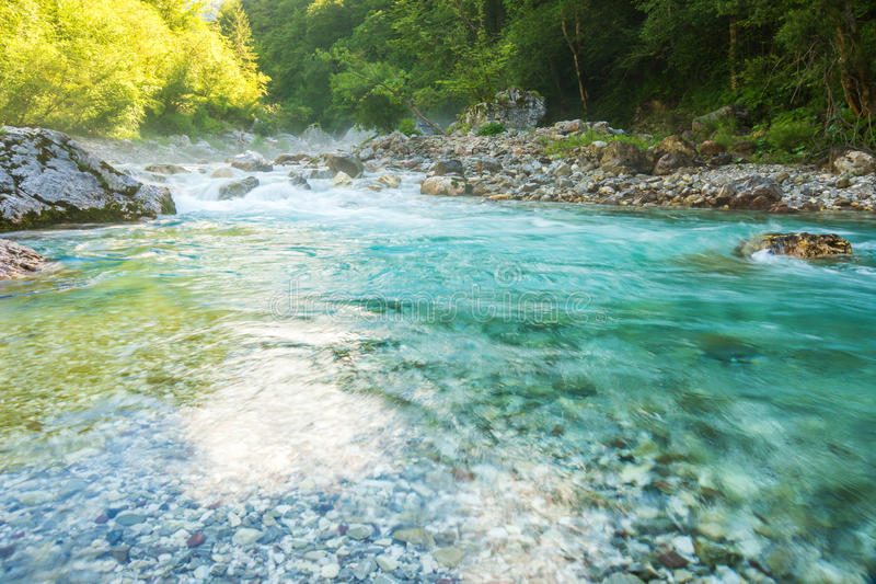 Beautiful turquoise river. In the Triglav National Park in Slovenia stock photography