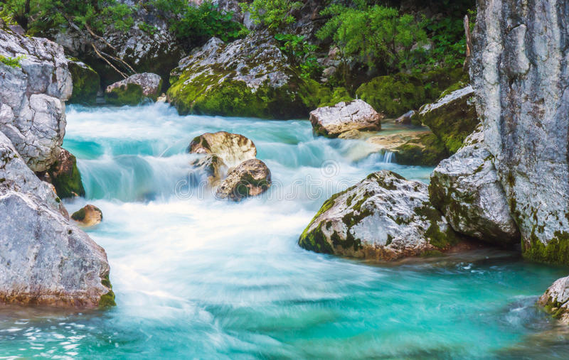 Beautiful turquoise river. In the Triglav National Park in Slovenia stock photos