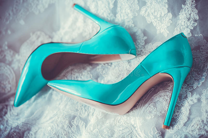 Beautiful turquoise shoes stock photography