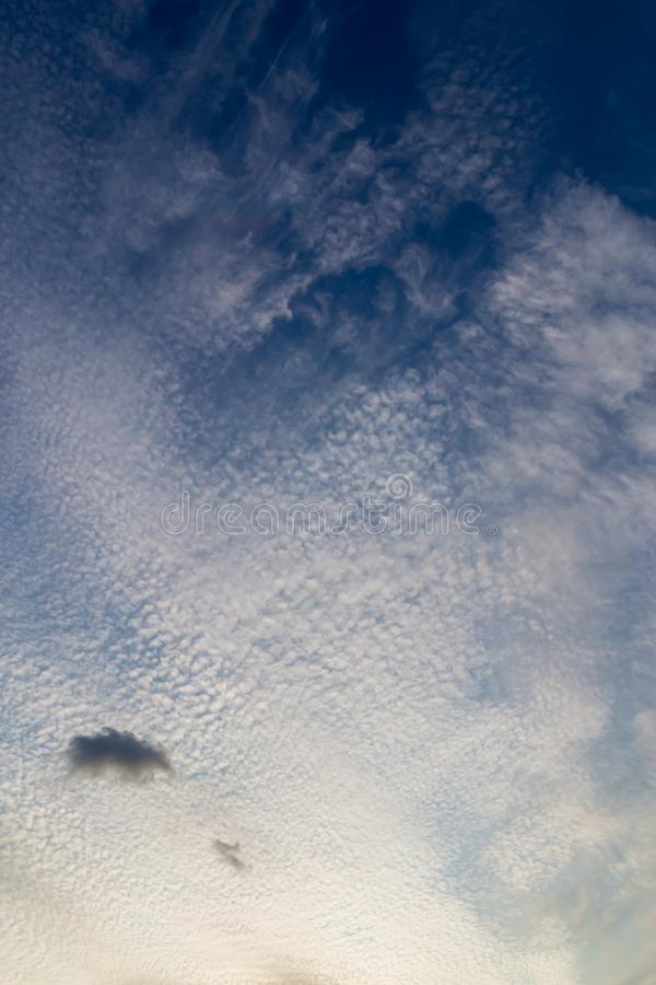 Beautiful Twilight sunset sky with tiny clouds. Nature concept background royalty free stock image