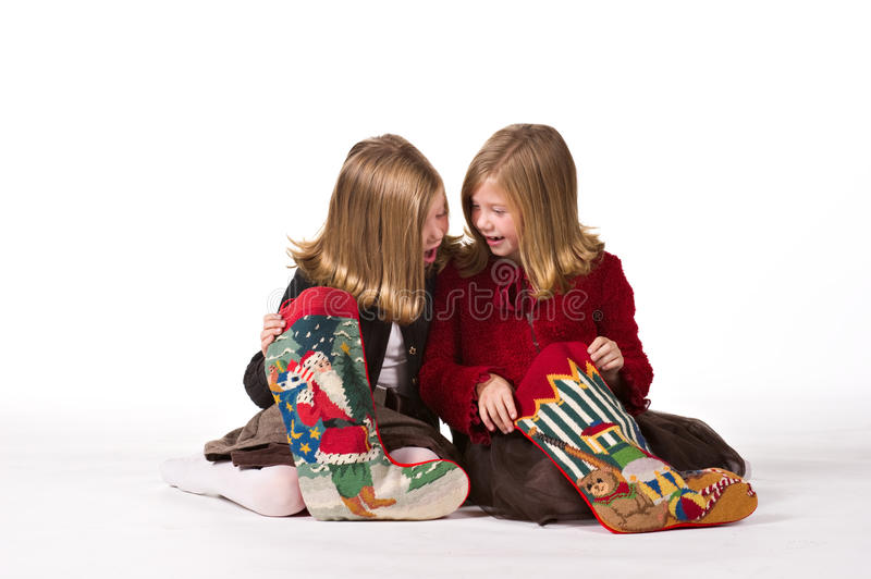 Download Beautiful Twin Girls At Christmas Stock Photo - Image: 16926886
