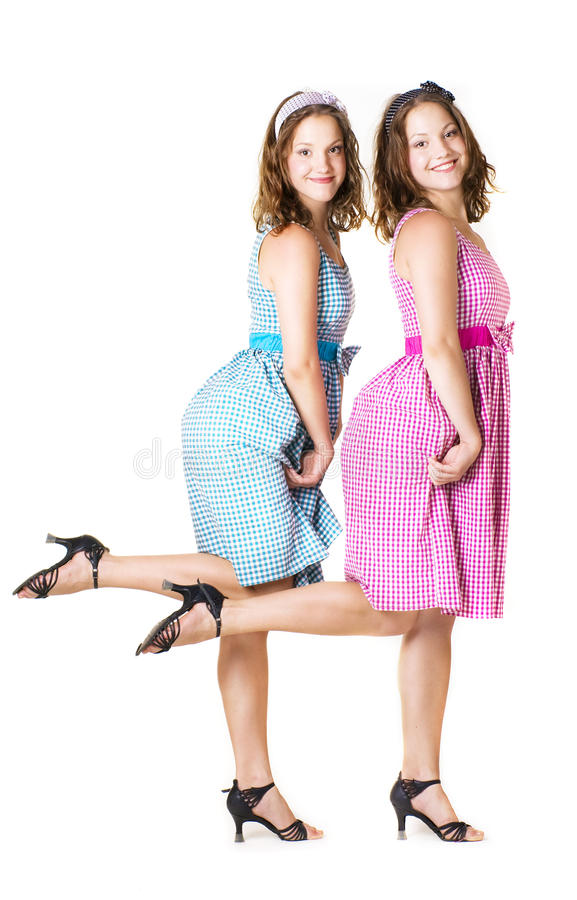 Download Beautiful twins sisters stock photo. Image of affinity - 22158656
