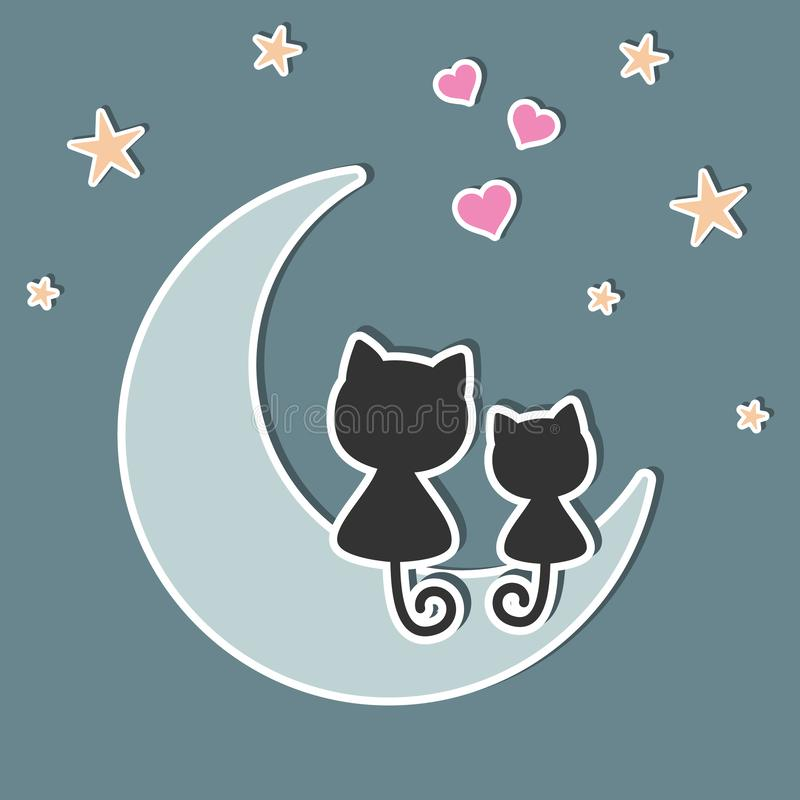 A beautiful two cute cats in love sitting on the moon at night. A beautiful two cute cats in love sitting on the moon at night, look at the hearts and stars vector illustration