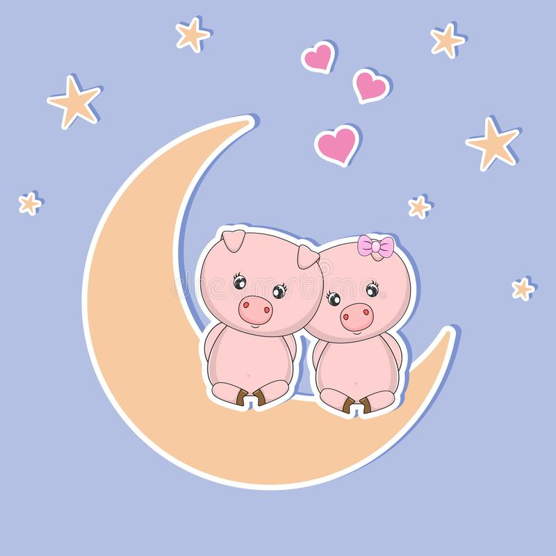 A beautiful two cute pigs in love sitting on the moon at night, look at the hearts and stars. Sweet kids graphics for t-shirts. Greeting card vector illustration