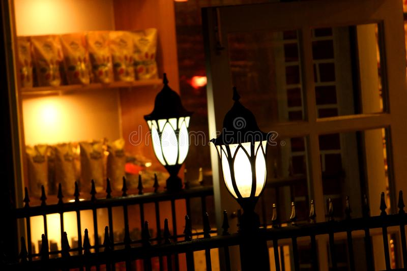 Outdoor Lamp in front of shop royalty free stock image