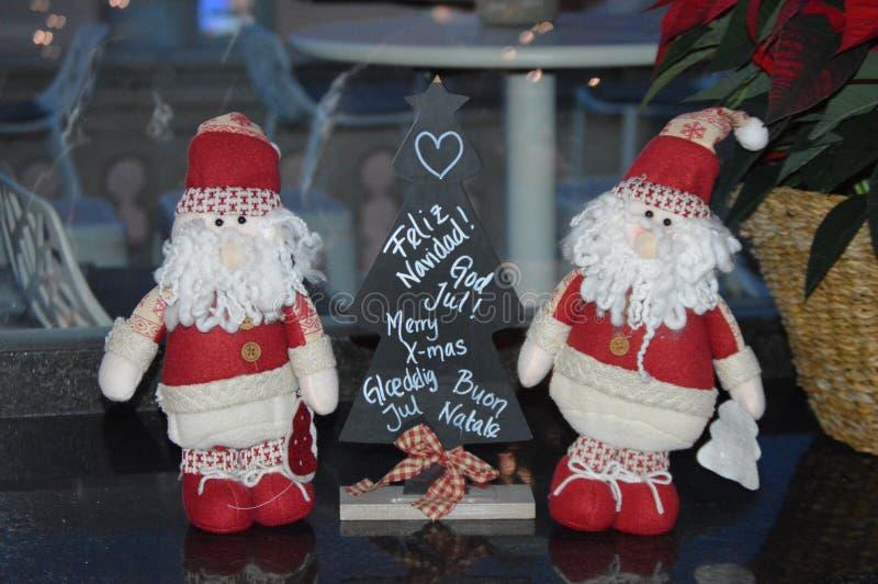 Santa Claus Toys and Christmas tree royalty free stock photography