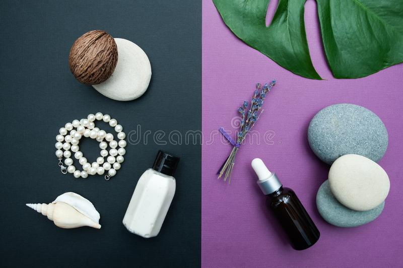 Beautiful two-tone background with cosmetics and natural ingredients, serum and cream, lavender pearls and conch, stock photo