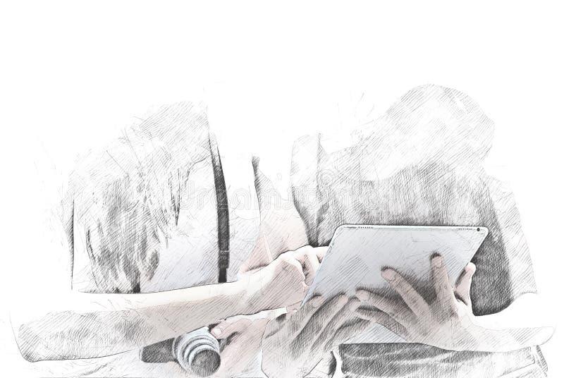 Beautiful two Women walking play smart phone. royalty free illustration