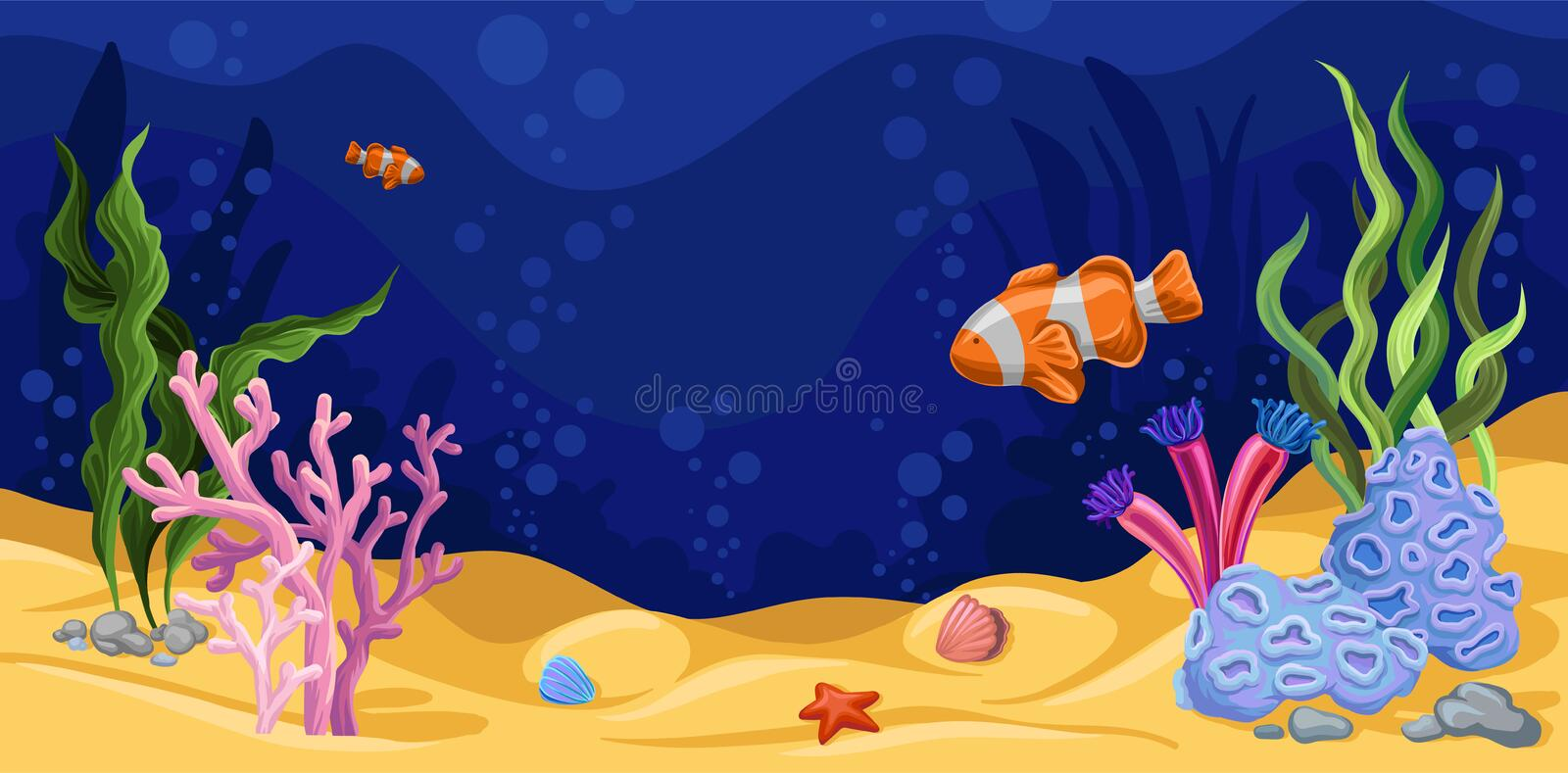 Beautiful underwater scene with seaweed, marine life vector vector illustration