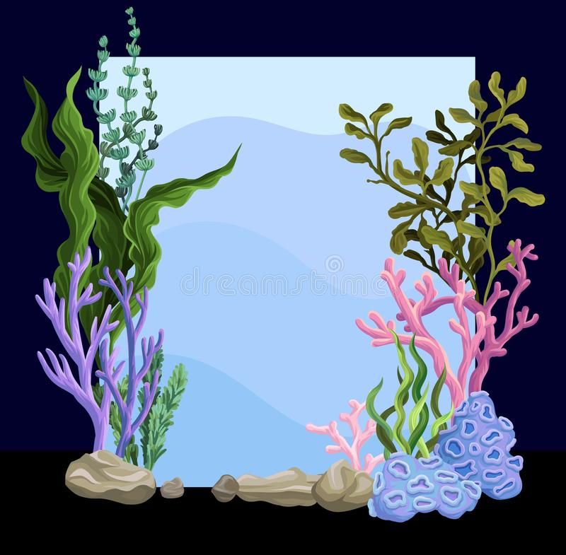 Beautiful underwater scene with seaweed, marine life vector. Illustration, colorful design element for poster or banner with copy space for text vector illustration