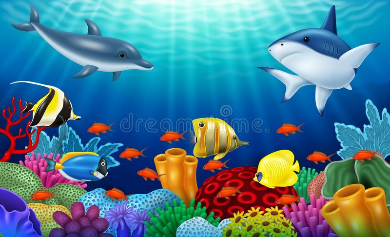 Beautiful underwater world with corals and tropical fish. Illustration of Beautiful underwater world with corals and tropical fish royalty free illustration