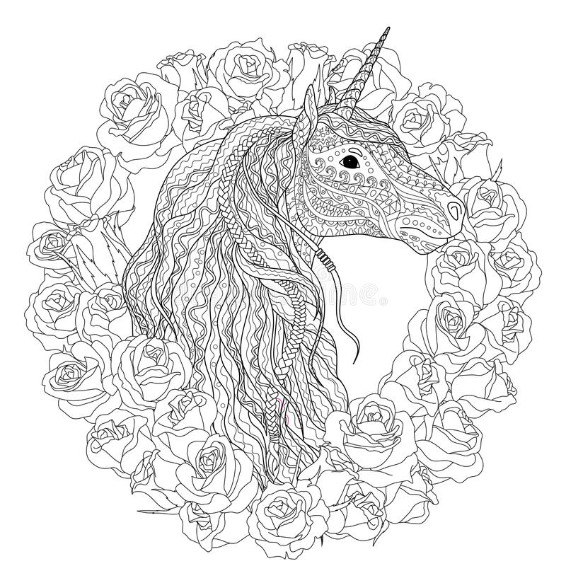 Beautiful Unicorn For Coloring Book For Adults Stock Illustration -  Illustration Of Color, Grownups: 171546762
