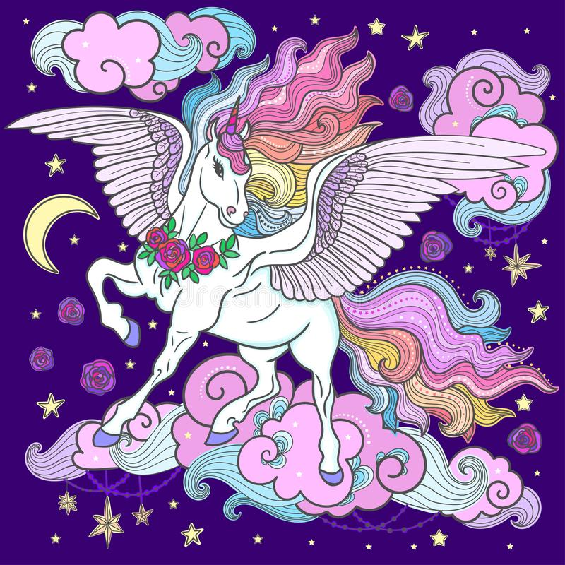 Beautiful unicorn with a long mane on a dark blue background. . Vector royalty free illustration