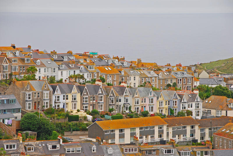 Beautiful and unique architecture of houses in St Ives Cornwall royalty free stock photos