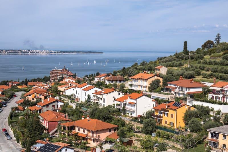 Beautiful upper view on adriatic coastline in lucija, portoroz, slovenia. Beautiful upper view on adriatic coastline in lucija, portoroz royalty free stock photos