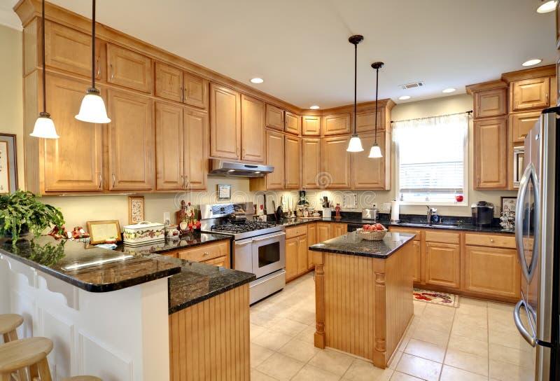 Beautiful upscale kitchen stock photos