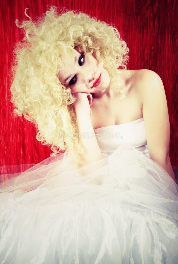 Beautiful upset blonde stock images