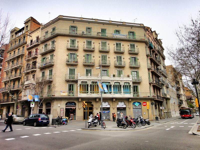 Beautiful urban architecture, Barcelona. Amazing architecture of different styles and times on the streets of Barcelona stock image