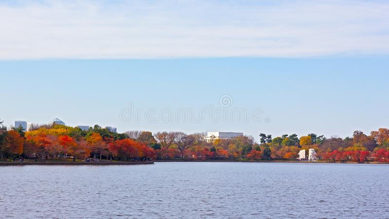 Washington DC panorama around Tidal Basin in autumn, USA. stock images