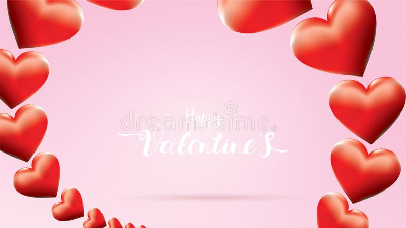 Beautiful Valentine`s Day background with lettering Text Red love And hearts shape Frame sweet color. cute and together design royalty free illustration