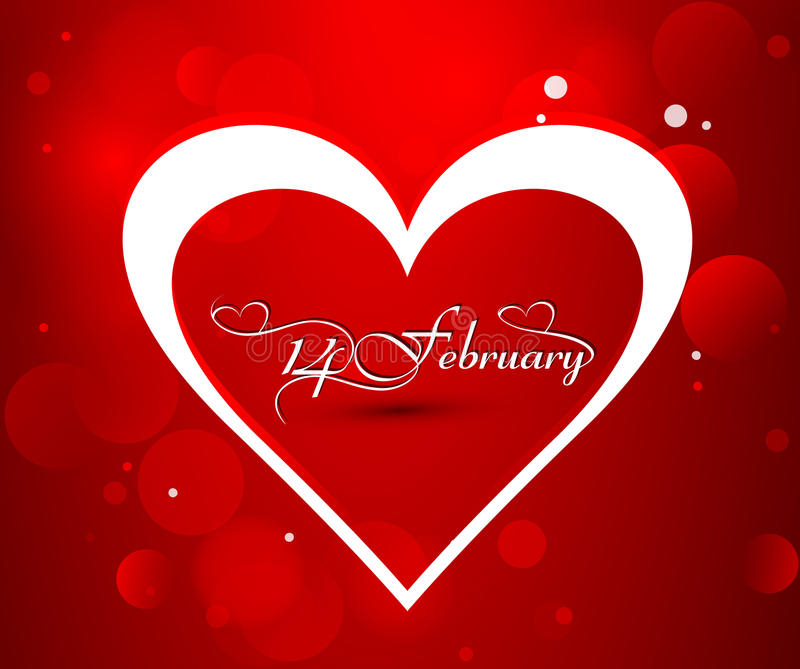 Beautiful Valentine's day card with heart 14 February royalty free stock photos