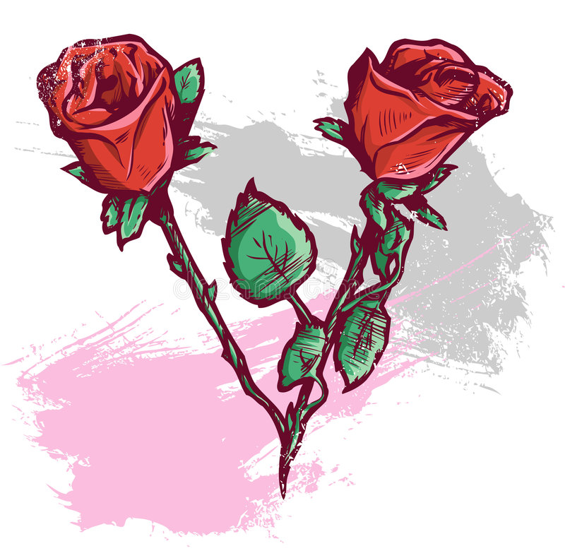 Beautiful Valentines Day Roses Vector Illustration stock images