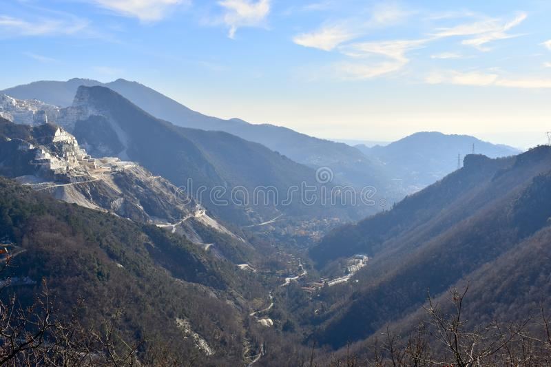 Beautiful valley between the mountains of the trekking in Carrara, Italy. Beautiful valley landscape on the trekking of the Alpi Apuane regional park. Carraca stock photo