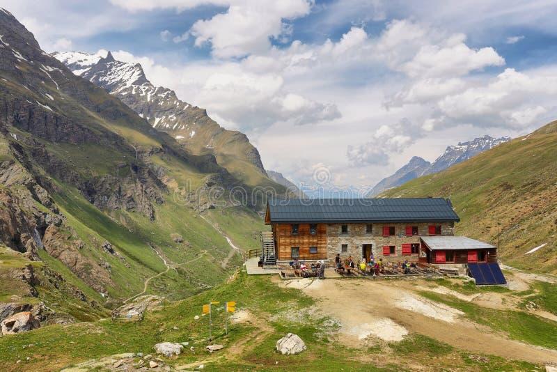 Beautiful valley in the way to Rifugio Benevolo, Val d`Aosta, Italy stock photo