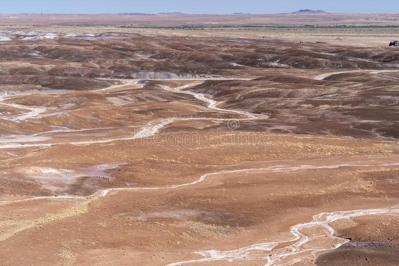 Beautiful vast desert landscape of the Blue Mesa area of Petrified Forest National Park in Arizona USA royalty free stock image