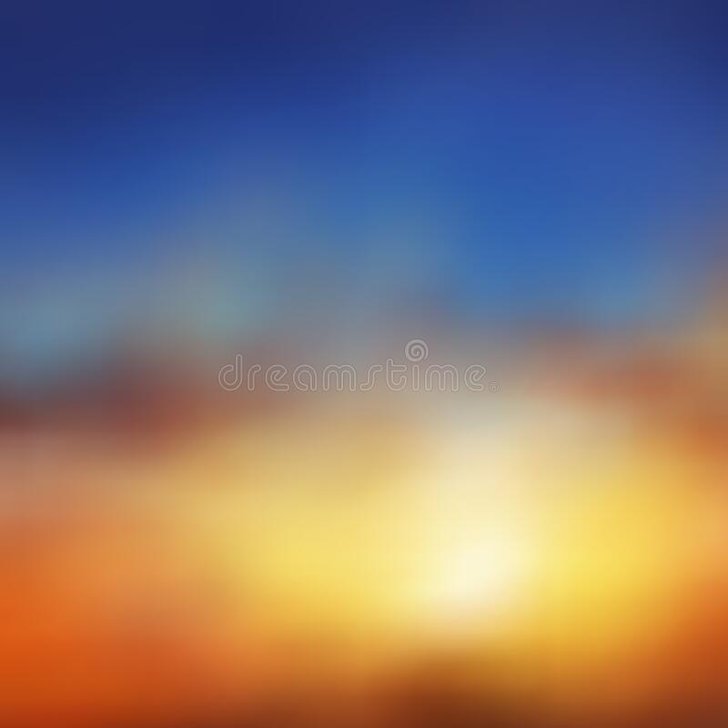 Beautiful vector background, natural phenomenon, brownish orange sunset or dawn, blue sky, blur, haze, clouds, sun. Ideal for web page design, advertising royalty free illustration
