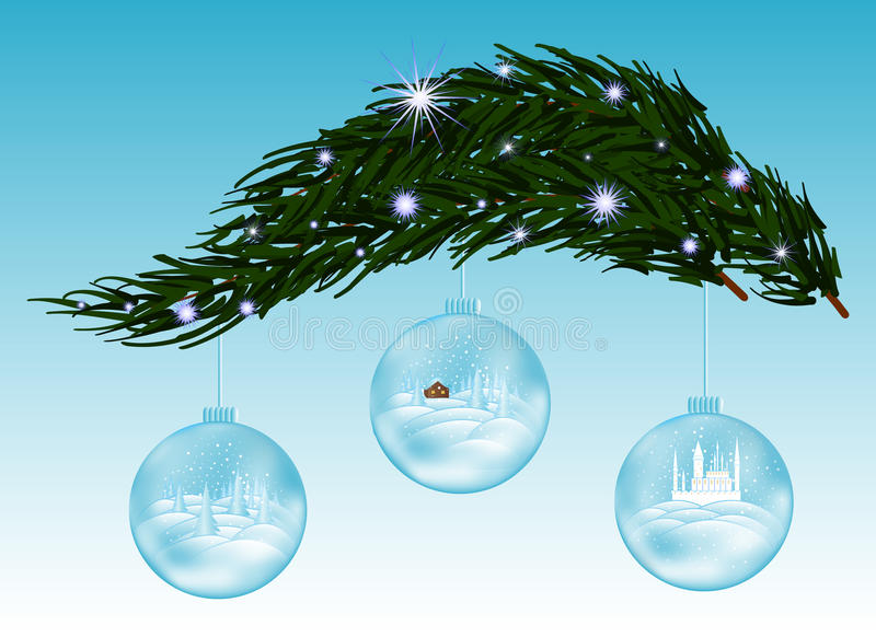 Beautiful vector background with snow covered fir-tree branch and three glass Christmas balls stock illustration