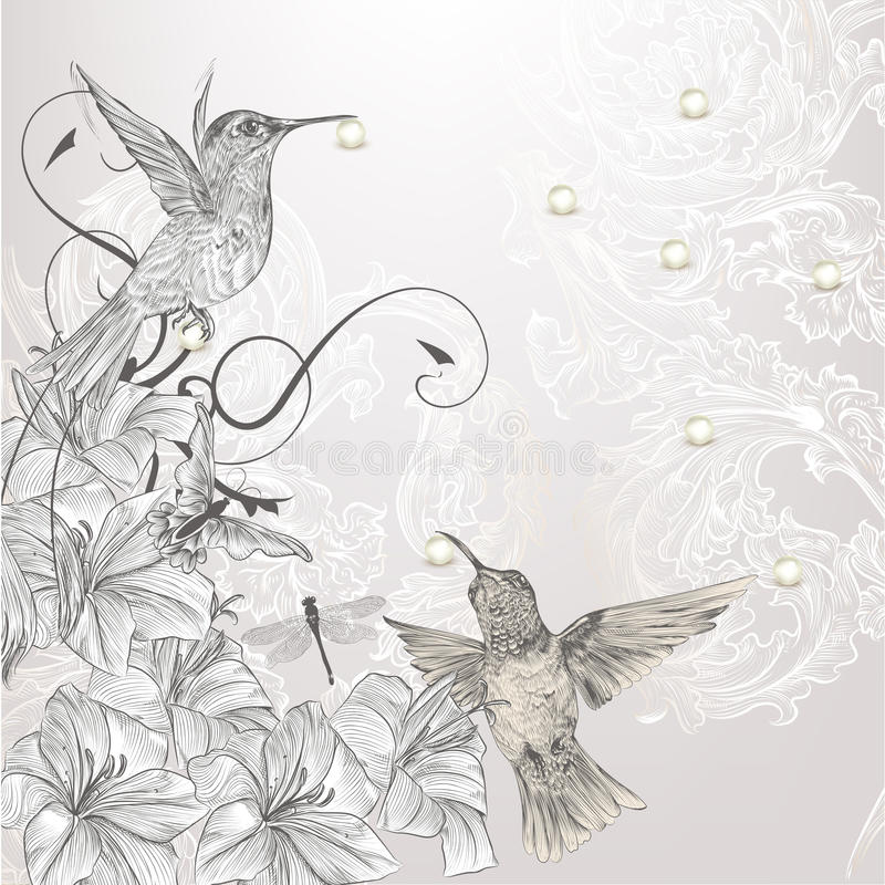 Beautiful vector background in vintage style with birds and flow royalty free illustration
