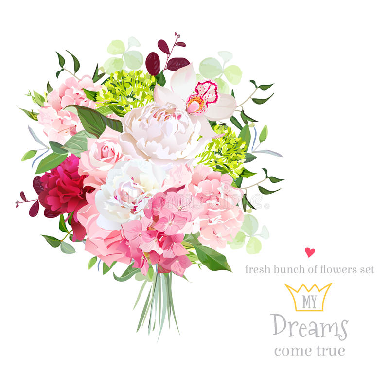 Free Beautiful Vector Bouquet With Peony, Rose, Carnation, Hydrangea, Orchid, Green Plants On White Vector Design Set. Royalty Free Stock Photos - 80462928