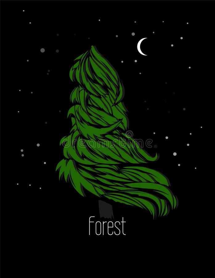 Beautiful vector fir-tree in the night forest. stock image