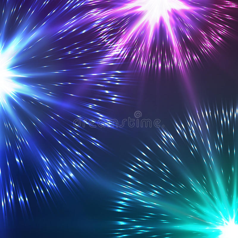 Beautiful Vector Fireworks. Realistic Vector fireworks exploding in the night sky royalty free illustration