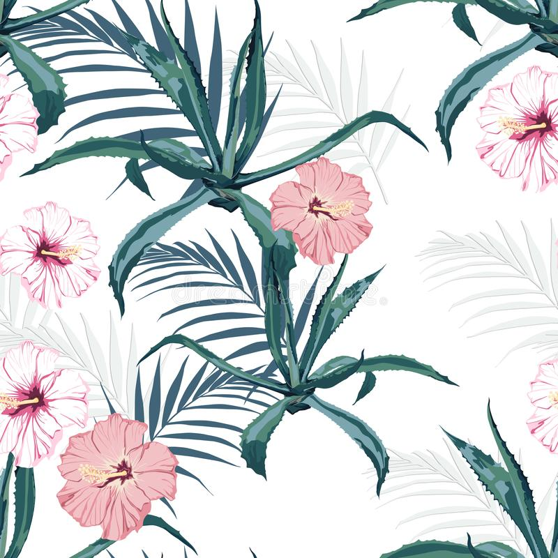 Beautiful vector floral seamless pattern background with agave, palm leaves and exotic hibiscus flowers. royalty free illustration