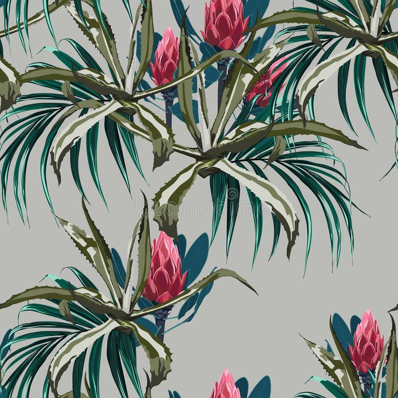 Beautiful vector floral seamless pattern background with agave and protea flowers stock illustration