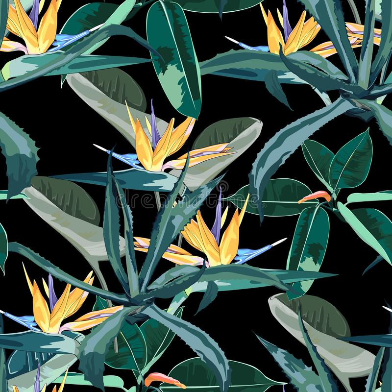 Beautiful vector floral seamless pattern background with agave and strelitzia. Perfect for wallpapers, web page backgrounds, surface textures, textile. Black vector illustration