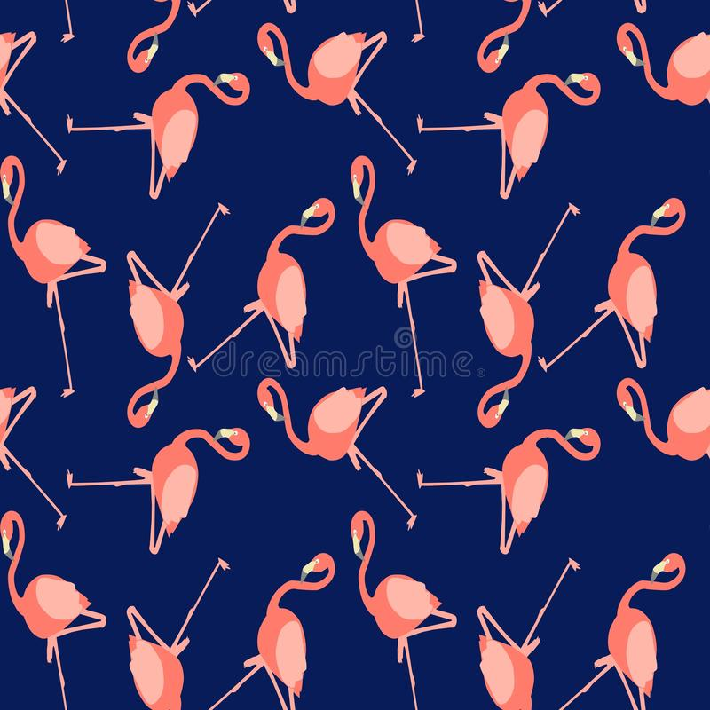 Beautiful vector floral summer pattern background with flamingo. royalty free illustration