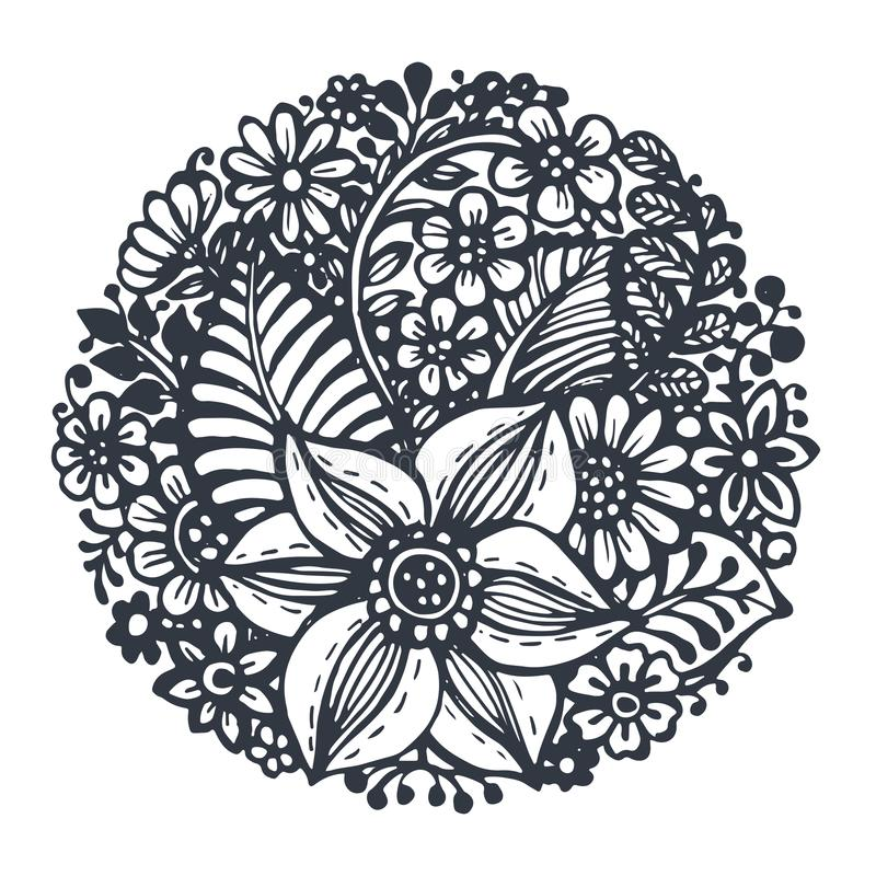 Beautiful vector flowers and plants in the circle. royalty free illustration