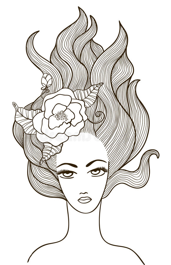 Beautiful vector girl with flower in hair vector illustration