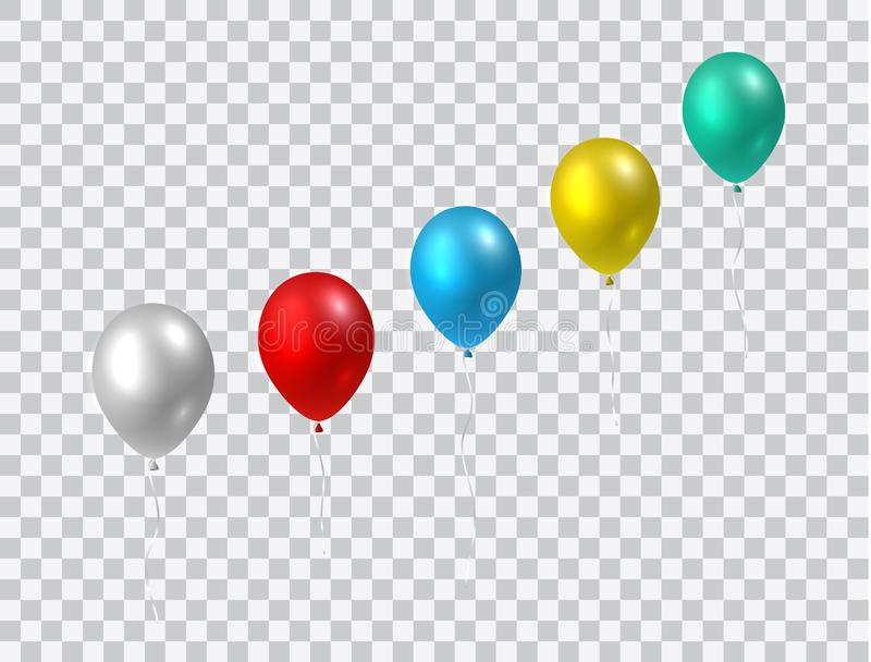 Beautiful vector growth chart in shape of colorful realistic party balloons flying up stock illustration